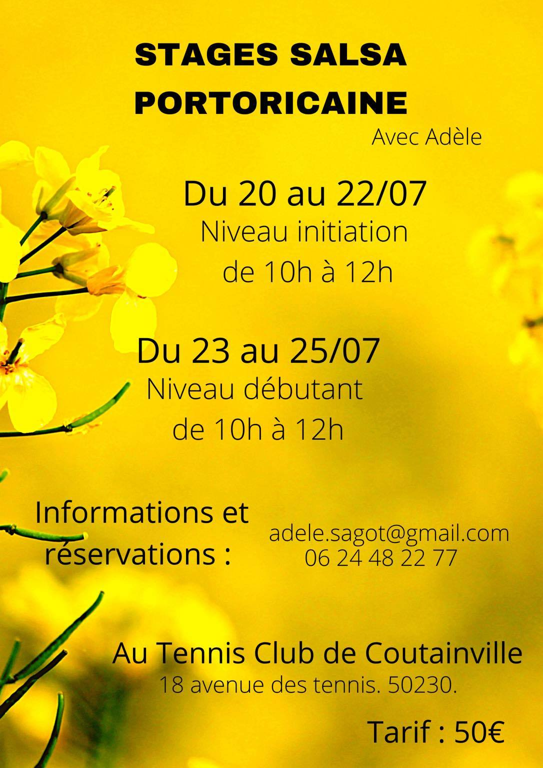 Stage Salsa Portoricaine au Tennis club de Coutainville